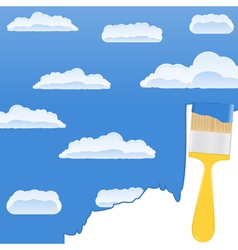 yellow brush drawing a sky with clouds vector image vector image