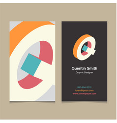 business card letter Q vector image vector image