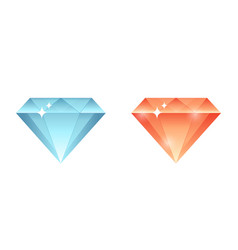 colorful gems diamonds crystals stone collection vector image