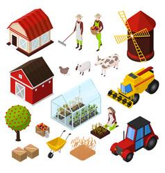 farm isometric elements set vector image vector image