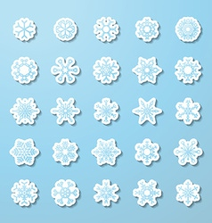 set of paper snowflake stickers vector image