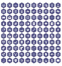 100 telecommunication icons hexagon purple vector image vector image