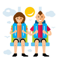 couple in attraction park flat style vector image vector image