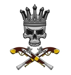 Crowned pirate skull with crossed pistols vector image vector image