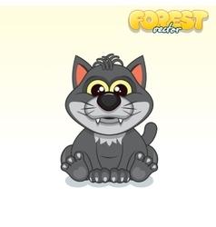 Cute Cartoon Black Wolf Funny Animal vector image vector image