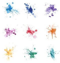 Paint splat colors set collection vector image vector image