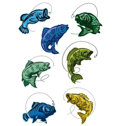 Set of deep-sea fish leaping on a hook vector image vector image