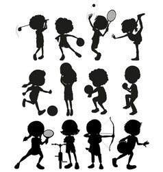 silhouette kids playing sports vector image vector image