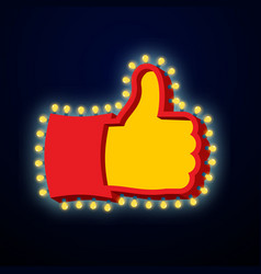 thumb up sign with glowing lights like symbol of vector image vector image