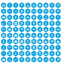 100 portfolio icons set blue vector