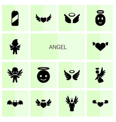 14 angel icons vector image