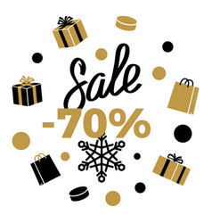 70 sale winter discount sign on white vector image