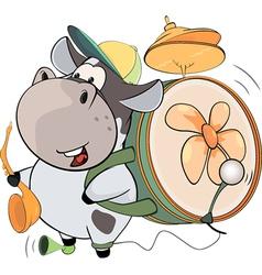 A cow one man band Cartoon vector image