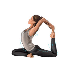 Abstract young woman is engaged in yoga or pilates vector
