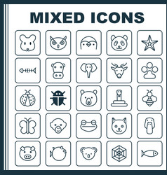 Animal icons set collection of moth diver claw vector