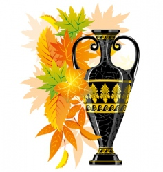 Antique amphora with autumn leaves vector