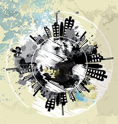 art grunge background with globe urban vector image