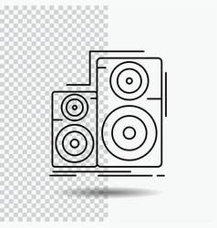 Audio hifi monitor speaker studio line icon on vector