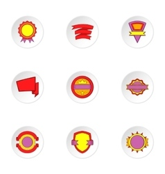Badge icons set cartoon style vector