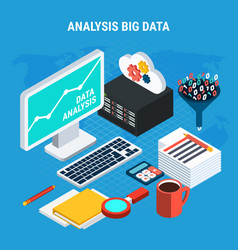 Big data analysis isometric design concept vector