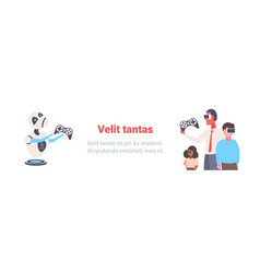 business people vr glasses modern robot playing vector image