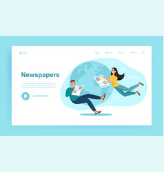 businessman and businesswoman are reading hot news vector image