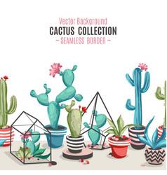 Cacti flower seamless border vector