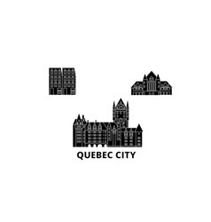 Canada quebec city flat travel skyline set vector