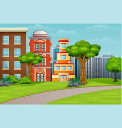 Cartoon city houses facades landscape vector