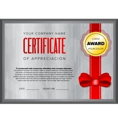 Certificate design with gray background vector image