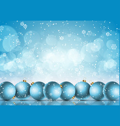 christmas baubles on a snowflake background vector image