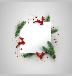 christmas card template red deer and pine leaf vector image