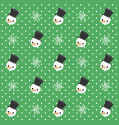 christmas seamless pattern snowman and snowflakes vector image