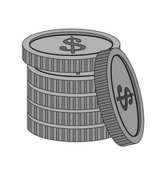 Color image cartoon stack coins with dollar symbol vector