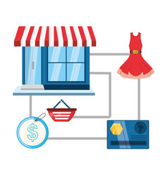 colorful store with colorful elements shopping vector image