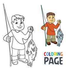 coloring page with people fishing cartoon vector image