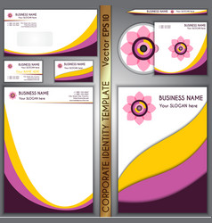 corporate brand yellow and purple template vector image