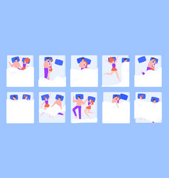 couple in bed sleeping pose young romantic vector image
