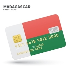 Credit card with Madagascar flag background for vector