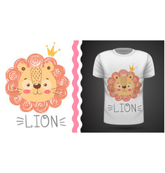 cute lion - idea for print t-shirt vector image
