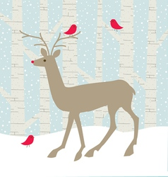 Deer and birds vector