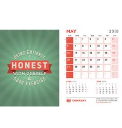 Desk calendar template for 2018 year may design vector