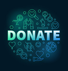 donate round colored in thin vector image
