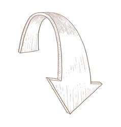 Down arrow sketch vector