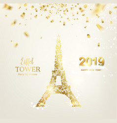 Eiffel tower icon with golden confetti falls vector