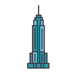 Empire state building flat line vector
