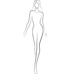 Fashion sketch catwalk woman vector