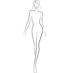 Fashion sketch of catwalk woman vector