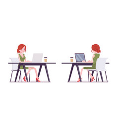 female clerk working with laptop vector image