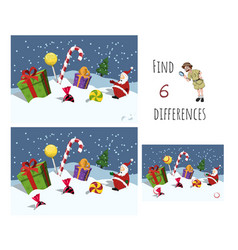 Find 7 differences educational game for children vector